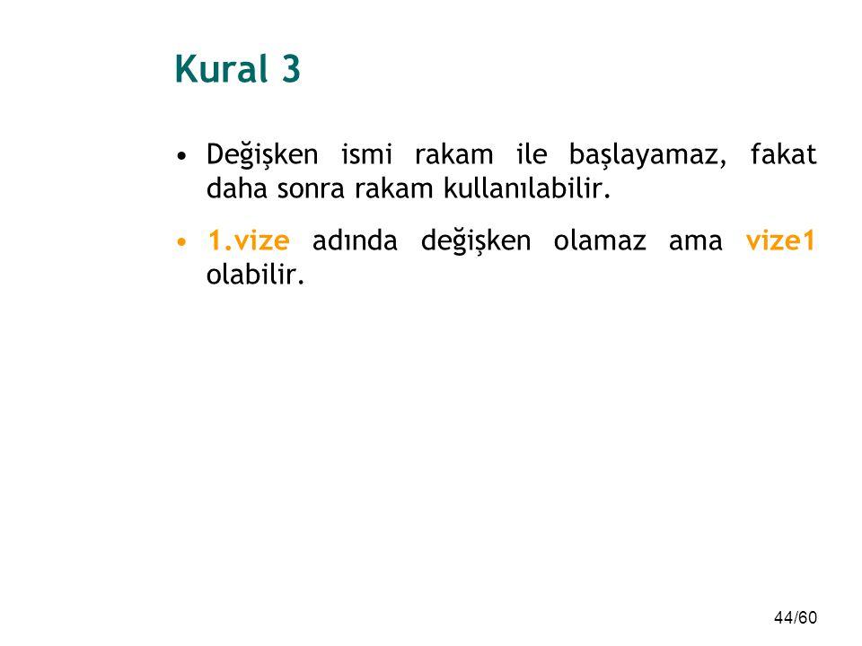 Kural 3 Değişken ismi rakam ile başlayamaz, fakat daha sonra rakam kullanılabilir.