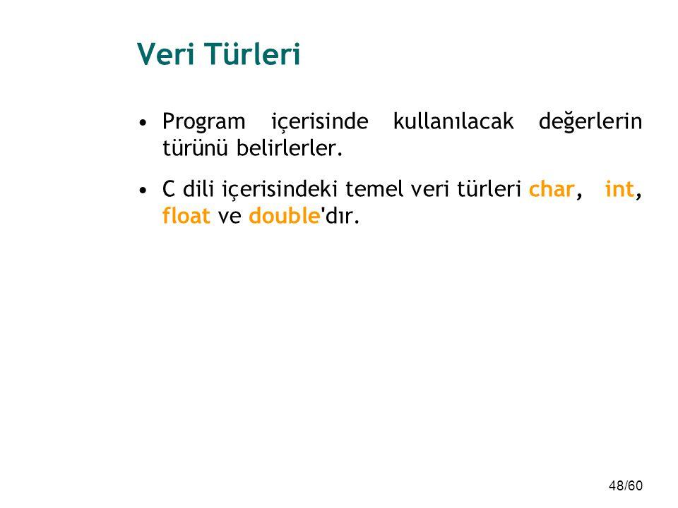 Veri Türleri Program içerisinde kullanılacak değerlerin türünü belirlerler.