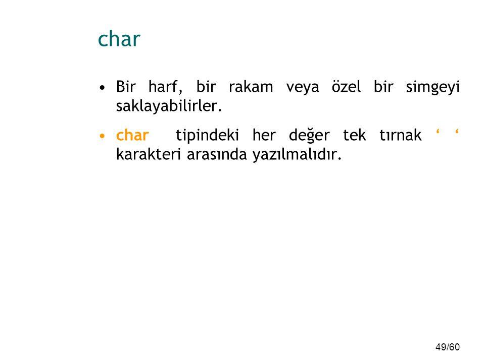 char Bir harf, bir rakam veya özel bir simgeyi saklayabilirler.