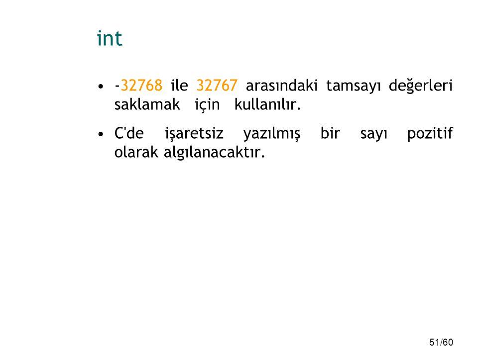 int -32768 ile 32767 arasındaki tamsayı değerleri saklamak için kullanılır.