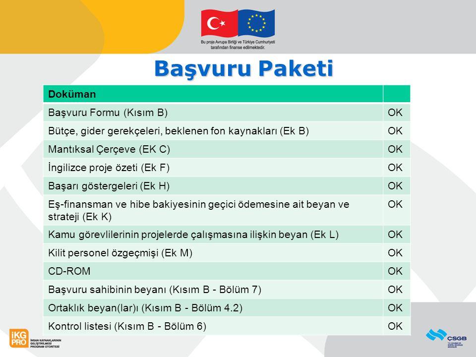 Başvuru Paketi Doküman Başvuru Formu (Kısım B) OK