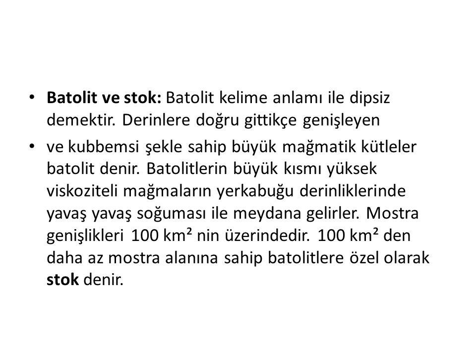 Batolit ve stok: Batolit kelime anlamı ile dipsiz demektir