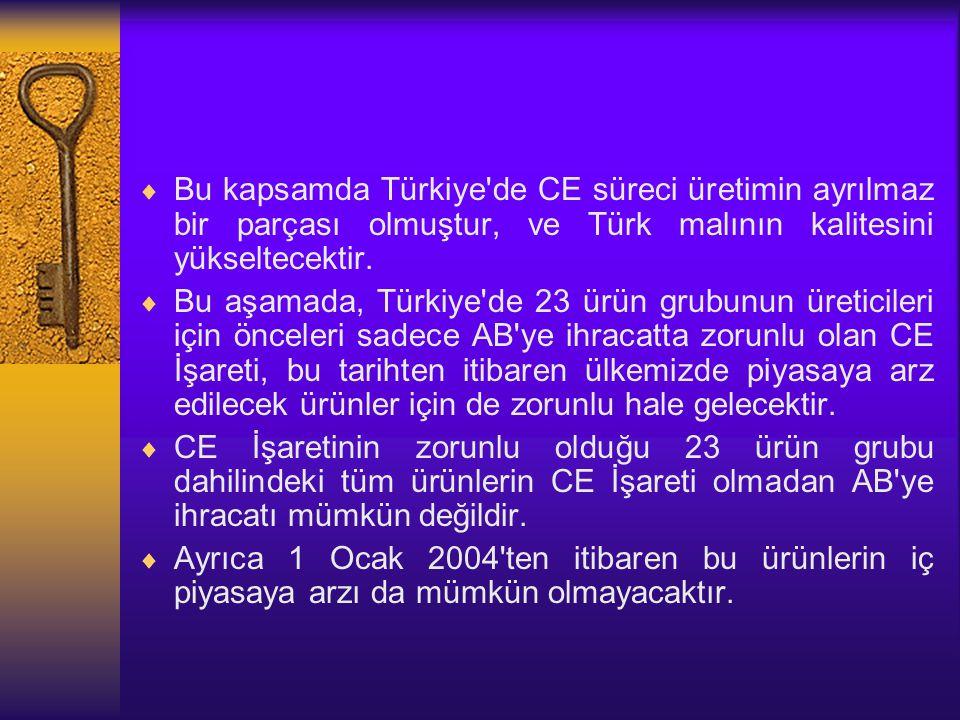 Bu kapsamda Türkiye de CE süreci üretimin ayrılmaz bir parçası olmuştur, ve Türk malının kalitesini yükseltecektir.