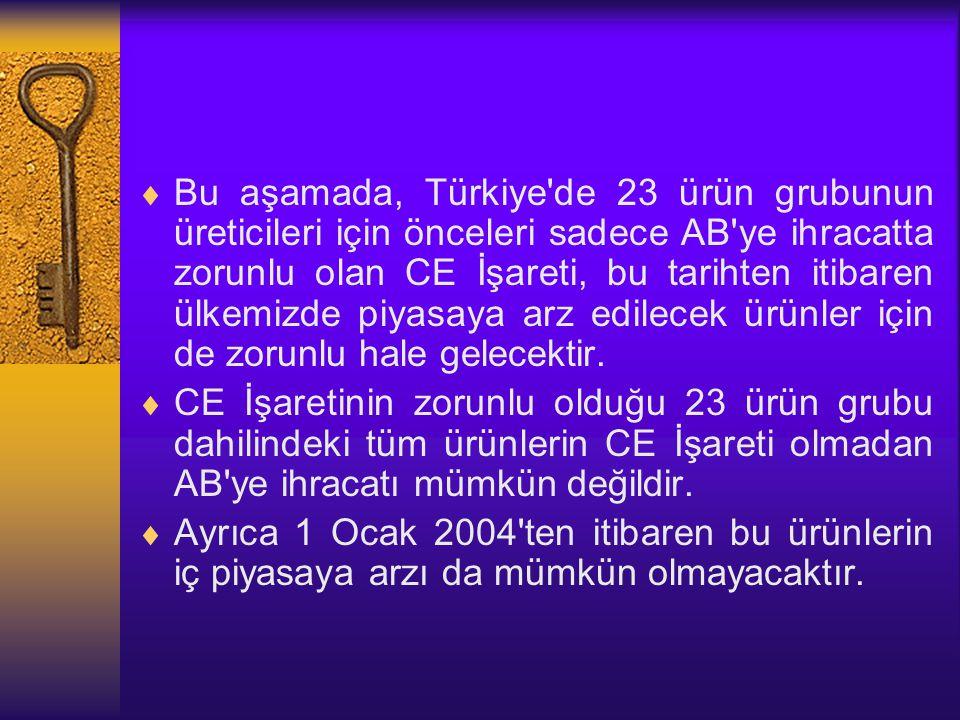 Bu aşamada, Türkiye de 23 ürün grubunun üreticileri için önceleri sadece AB ye ihracatta zorunlu olan CE İşareti, bu tarihten itibaren ülkemizde piyasaya arz edilecek ürünler için de zorunlu hale gelecektir.
