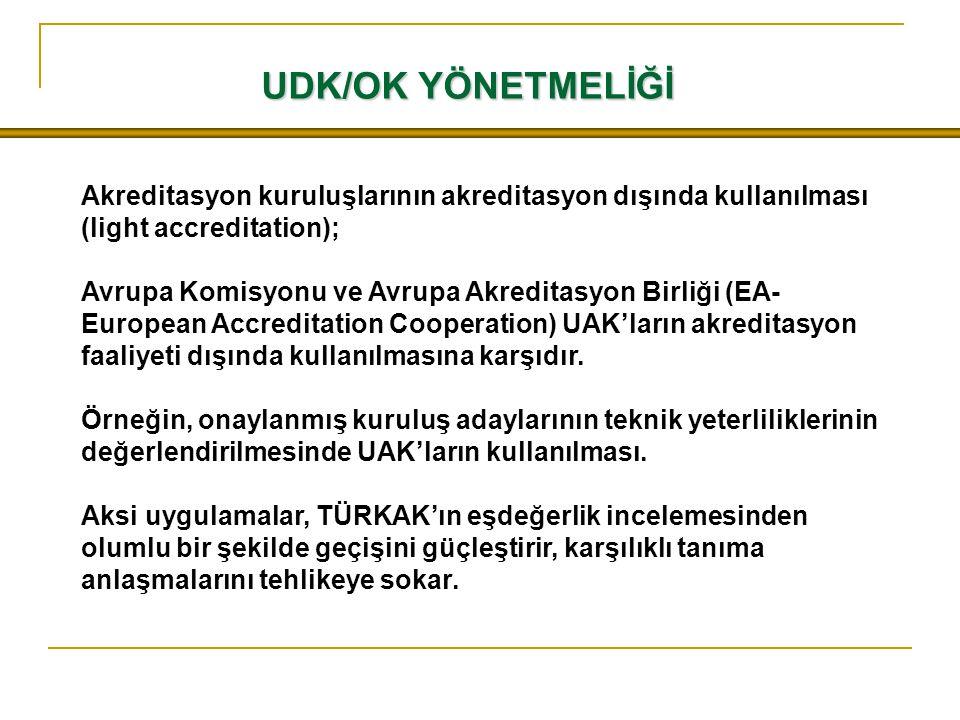 UDK/OK YÖNETMELİĞİ Akreditasyon kuruluşlarının akreditasyon dışında kullanılması (light accreditation);