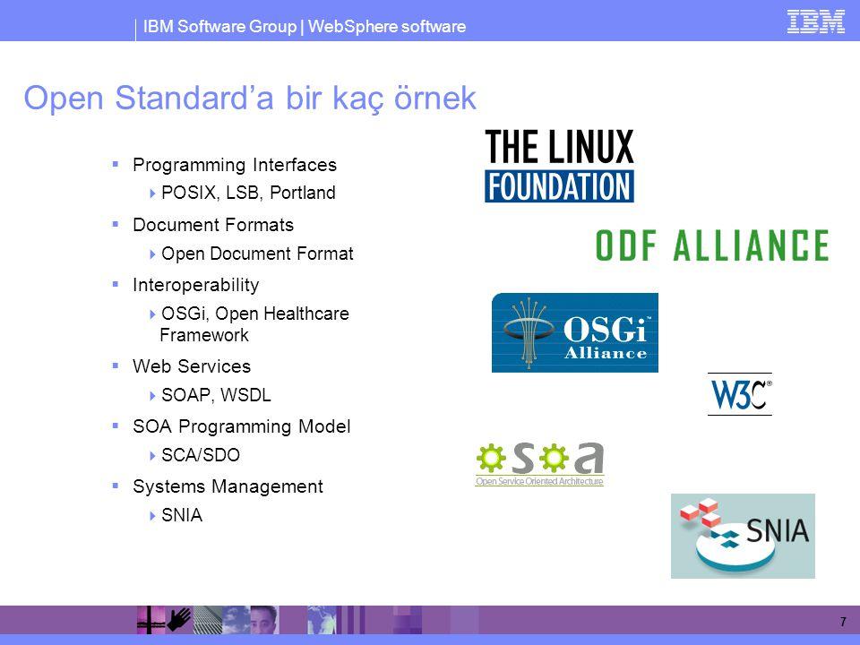 Open Standard'a bir kaç örnek