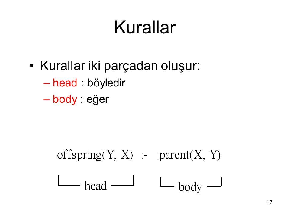 Kurallar Kurallar iki parçadan oluşur: head : böyledir body : eğer 17