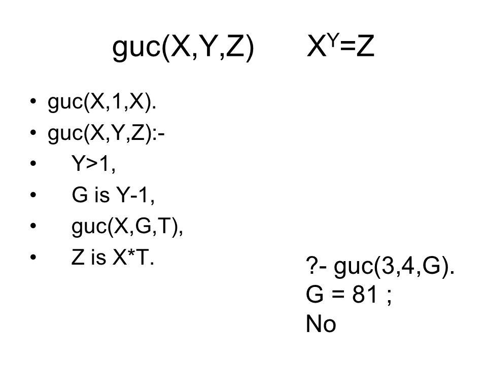 guc(X,Y,Z) XY=Z - guc(3,4,G). G = 81 ; No guc(X,1,X). guc(X,Y,Z):-