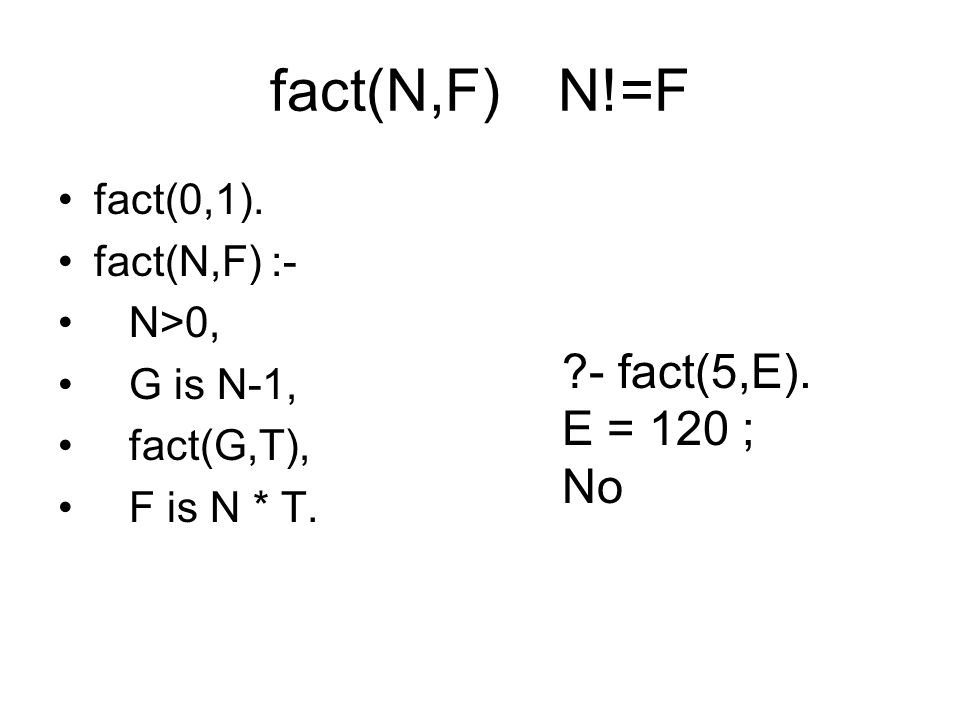 fact(N,F) N!=F - fact(5,E). E = 120 ; No fact(0,1). fact(N,F) :-
