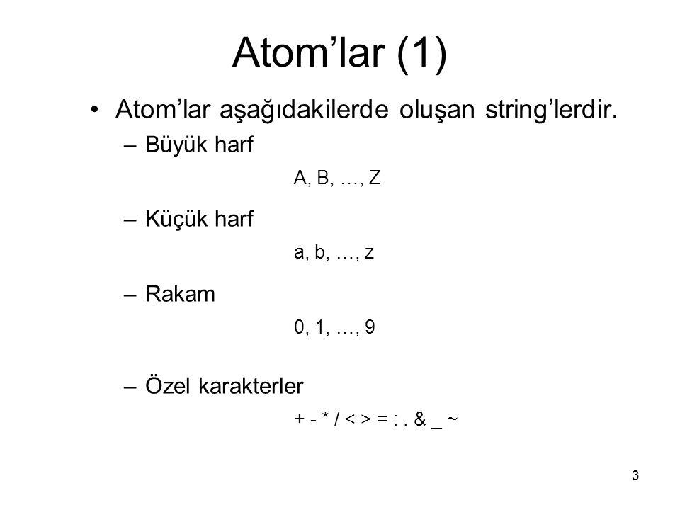 Atom'lar (1) Atom'lar aşağıdakilerde oluşan string'lerdir. Büyük harf