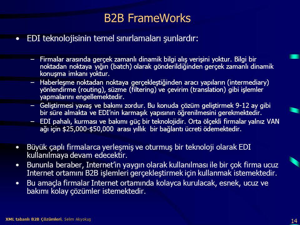 B2B FrameWorks EDI teknolojisinin temel sınırlamaları şunlardır: