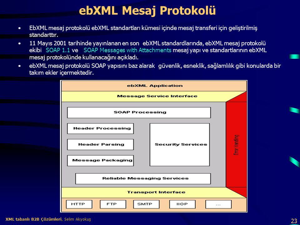 ebXML Mesaj Protokolü EbXML mesaj protokolü ebXML standartları kümesi içinde mesaj transferi için geliştirilmiş standarttır.
