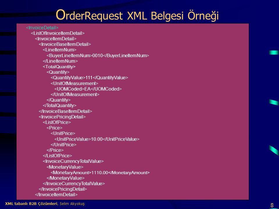 OrderRequest XML Belgesi Örneği