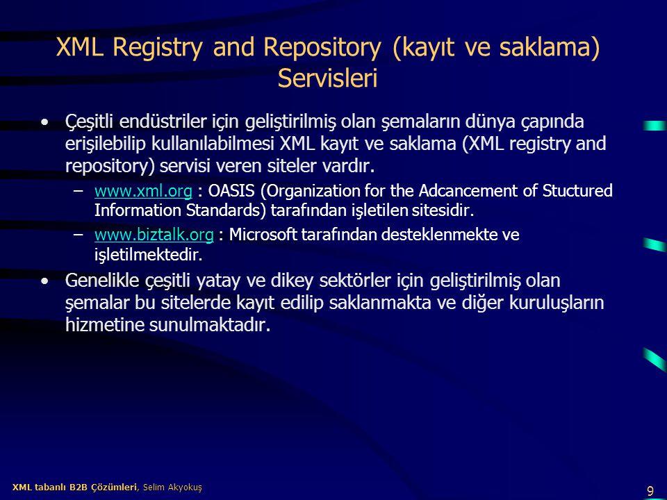 XML Registry and Repository (kayıt ve saklama) Servisleri