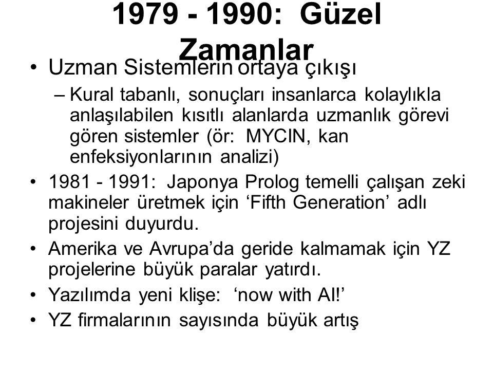 1979 - 1990: Güzel Zamanlar Uzman Sistemlerin ortaya çıkışı