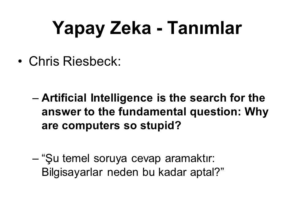 Yapay Zeka - Tanımlar Chris Riesbeck: