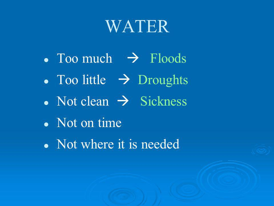 WATER Too much  Floods Too little  Droughts Not clean  Sickness
