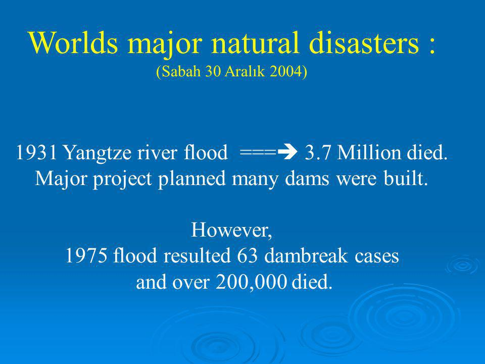 Worlds major natural disasters :