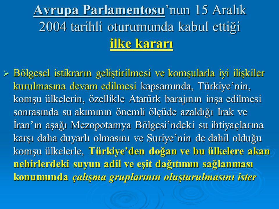 Avrupa Parlamentosu'nun 15 Aralık 2004 tarihli oturumunda kabul ettiği ilke kararı