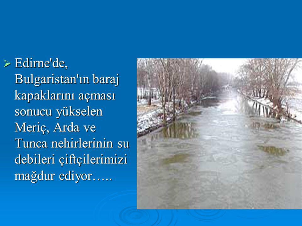 Edirne de, Bulgaristan ın baraj kapaklarını açması sonucu yükselen Meriç, Arda ve Tunca nehirlerinin su debileri çiftçilerimizi mağdur ediyor…..