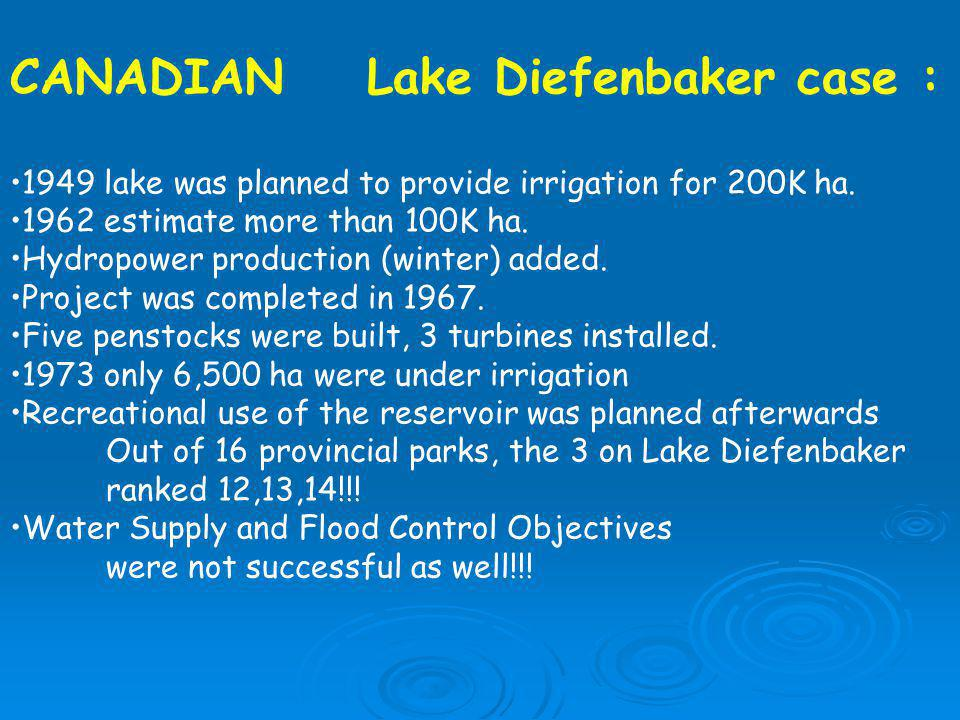CANADIAN Lake Diefenbaker case :