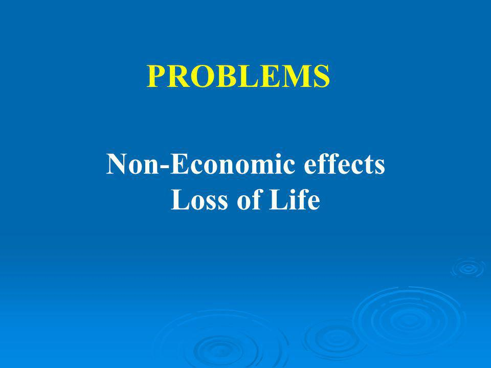 PROBLEMS Non-Economic effects Loss of Life