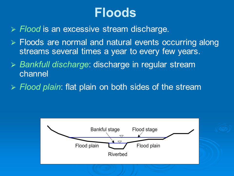 Floods Flood is an excessive stream discharge.