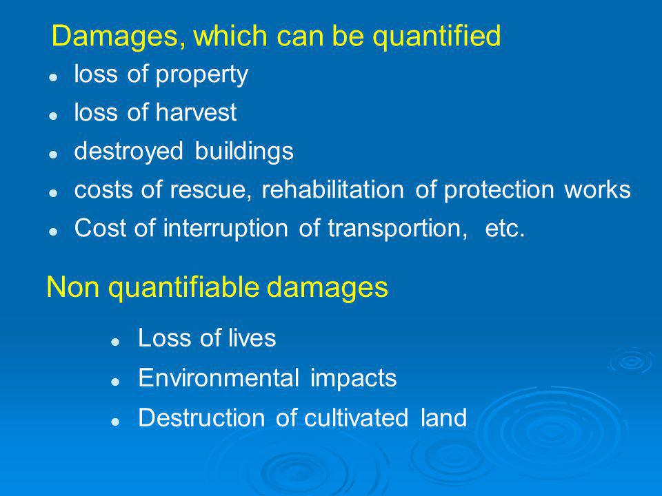 Damages, which can be quantified