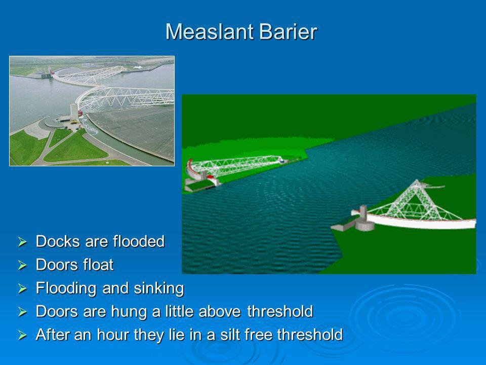 Measlant Barier Docks are flooded Doors float Flooding and sinking