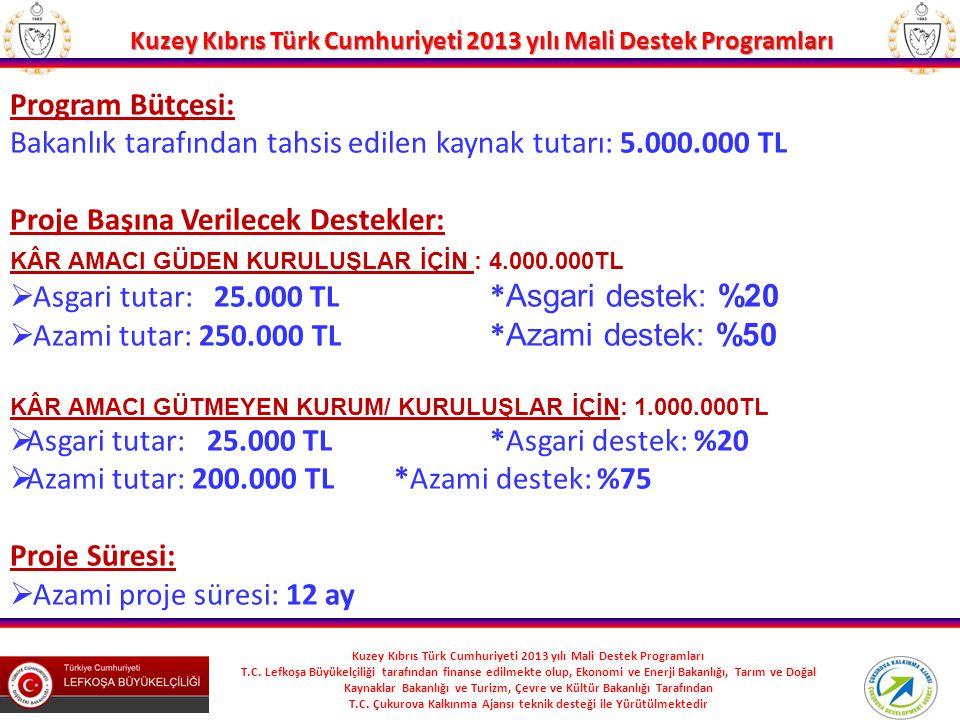 Bakanlık tarafından tahsis edilen kaynak tutarı: 5.000.000 TL