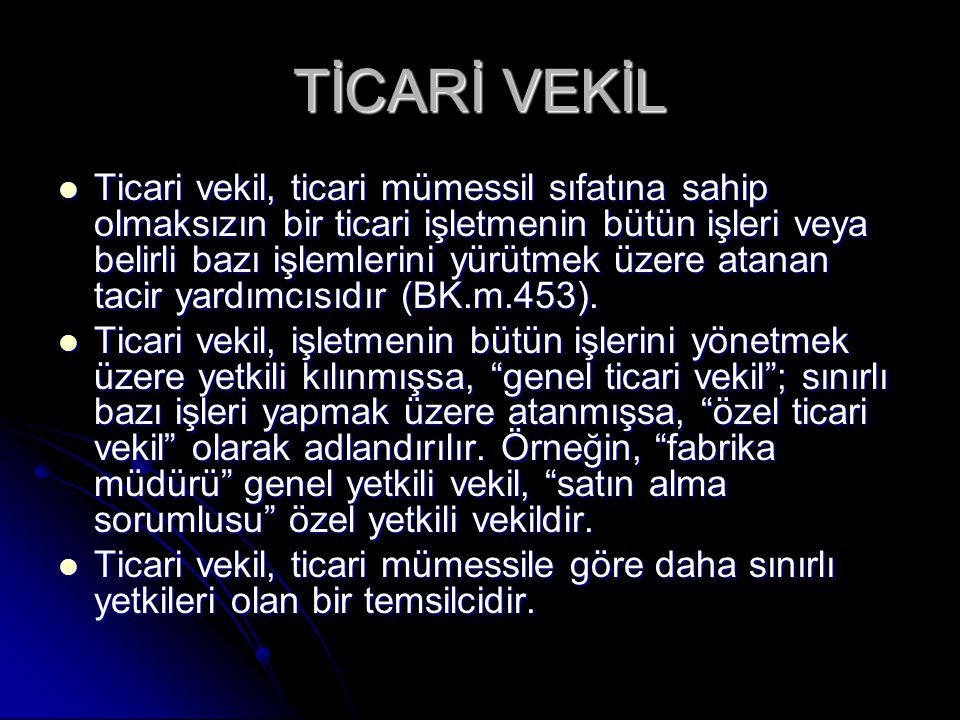TİCARİ VEKİL
