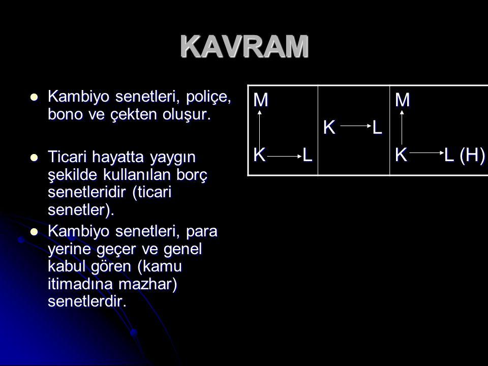 KAVRAM M K L K L (H) Kambiyo senetleri, poliçe, bono ve çekten oluşur.