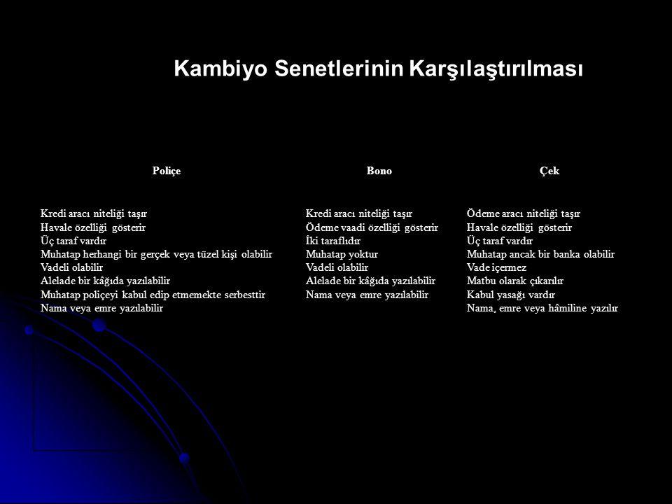 Kambiyo Senetlerinin Karşılaştırılması