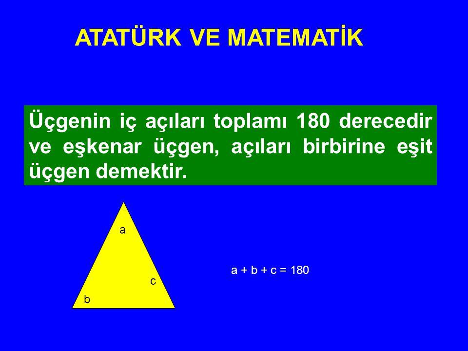 ATATÜRK VE MATEMATİK Üçgenin iç açıları toplamı 180 derecedir ve eşkenar üçgen, açıları birbirine eşit üçgen demektir.