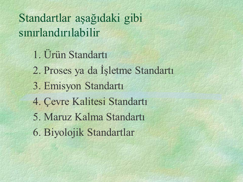 Standartlar aşağıdaki gibi sınırlandırılabilir