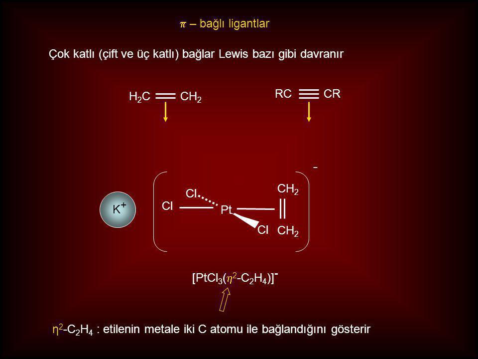 p – bağlı ligantlar Çok katlı (çift ve üç katlı) bağlar Lewis bazı gibi davranır. H2C. CH2. RC. CR.