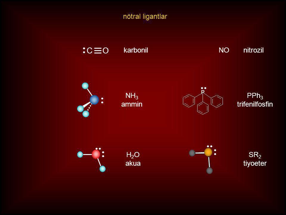 C O nötral ligantlar karbonil NO nitrozil NH3 ammin PPh3