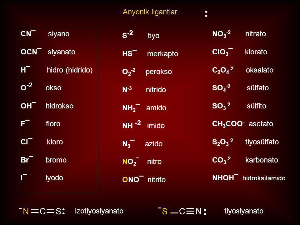 N C S S C N Anyonik ligantlar S-2 tiyo HS¯ merkapto O2-2 perokso