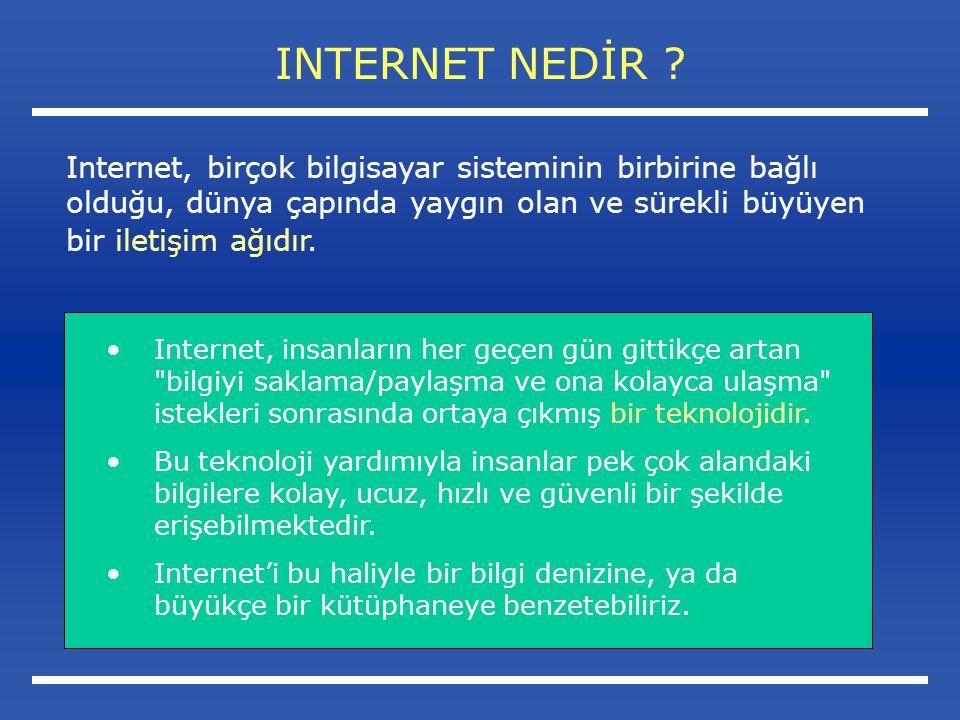INTERNET NEDİR Internet, birçok bilgisayar sisteminin birbirine bağlı olduğu, dünya çapında yaygın olan ve sürekli büyüyen bir iletişim ağıdır.