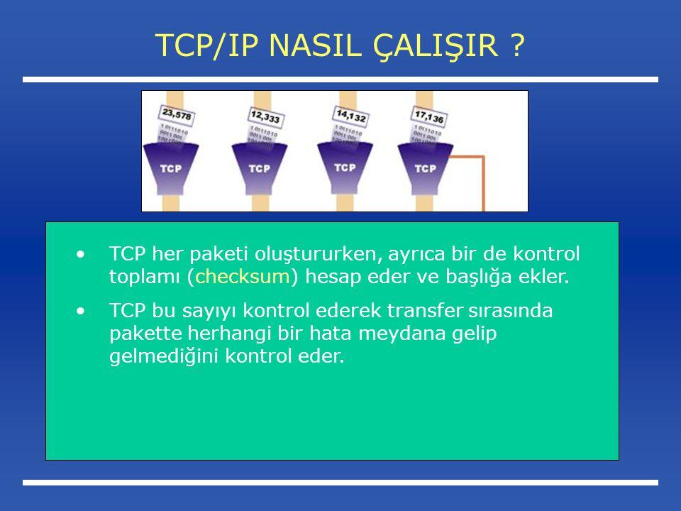 TCP/IP NASIL ÇALIŞIR TCP her paketi oluştururken, ayrıca bir de kontrol toplamı (checksum) hesap eder ve başlığa ekler.