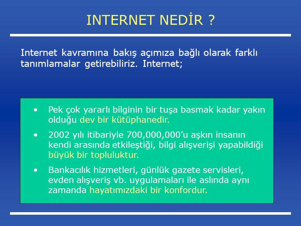 INTERNET NEDİR Internet kavramına bakış açımıza bağlı olarak farklı tanımlamalar getirebiliriz. Internet;
