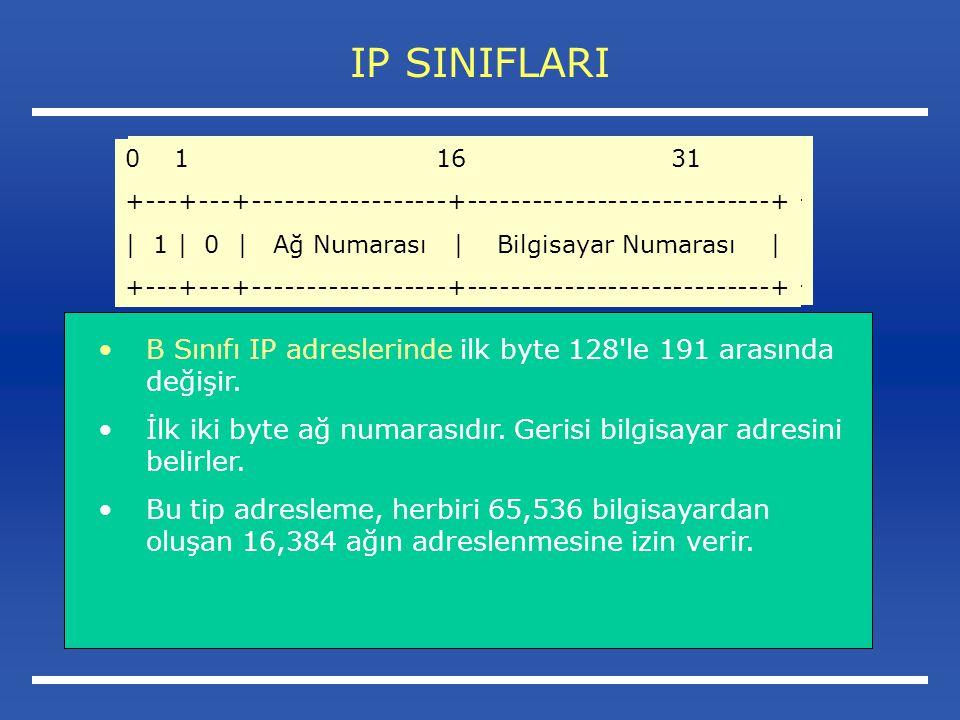 IP SINIFLARI 0 1 16 31. +---+---+------------------+----------------------------+