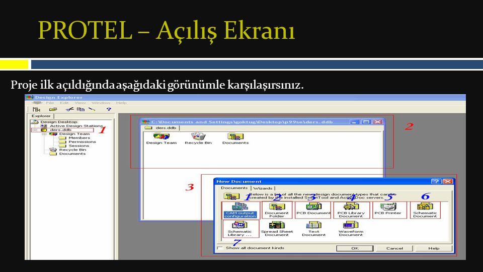 PROTEL – Açılış Ekranı Proje ilk açıldığında aşağıdaki görünümle karşılaşırsınız.