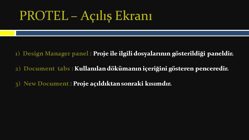 PROTEL – Açılış Ekranı 1) Design Manager panel : Proje ile ilgili dosyalarının gösterildiği paneldir.