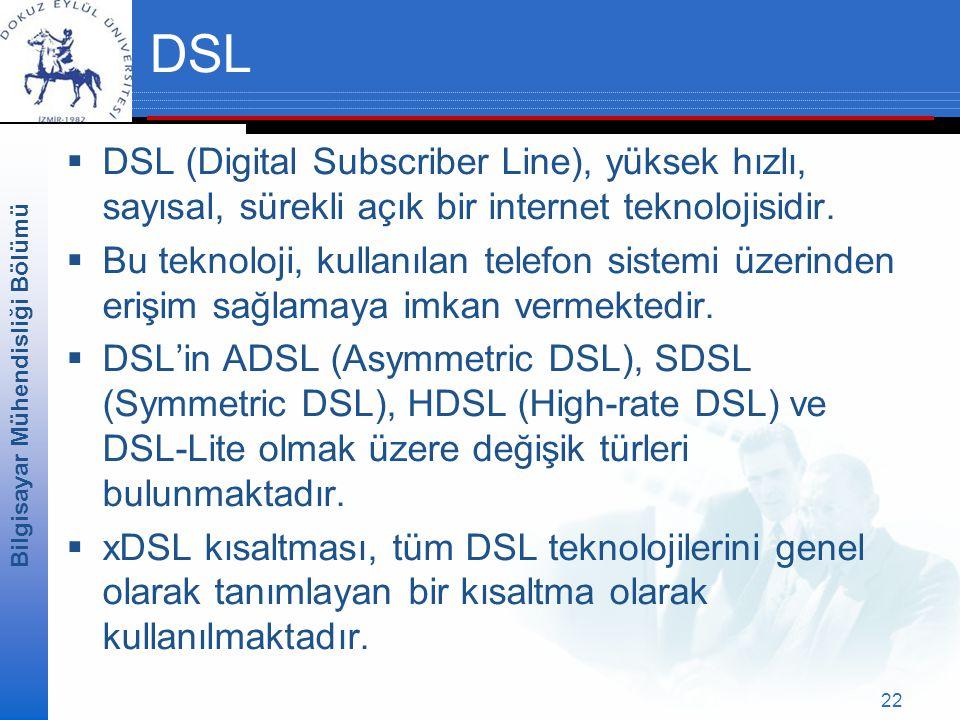 DSL DSL (Digital Subscriber Line), yüksek hızlı, sayısal, sürekli açık bir internet teknolojisidir.