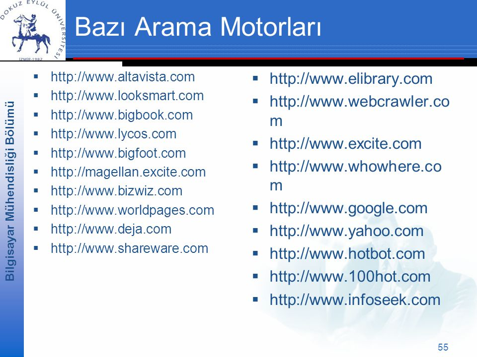 Bazı Arama Motorları http://www.elibrary.com http://www.webcrawler.com