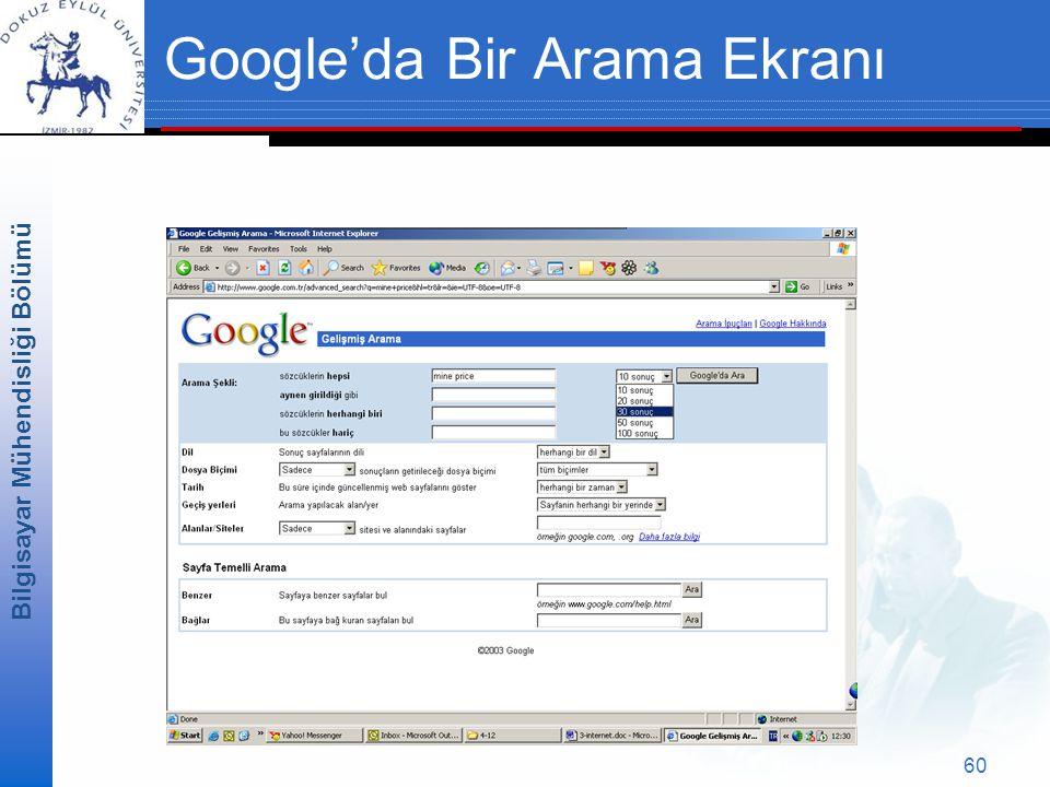 Google'da Bir Arama Ekranı