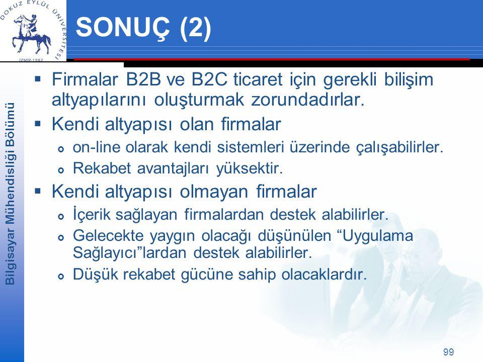 SONUÇ (2) Firmalar B2B ve B2C ticaret için gerekli bilişim altyapılarını oluşturmak zorundadırlar. Kendi altyapısı olan firmalar.
