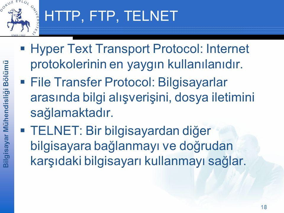 HTTP, FTP, TELNET Hyper Text Transport Protocol: Internet protokolerinin en yaygın kullanılanıdır.