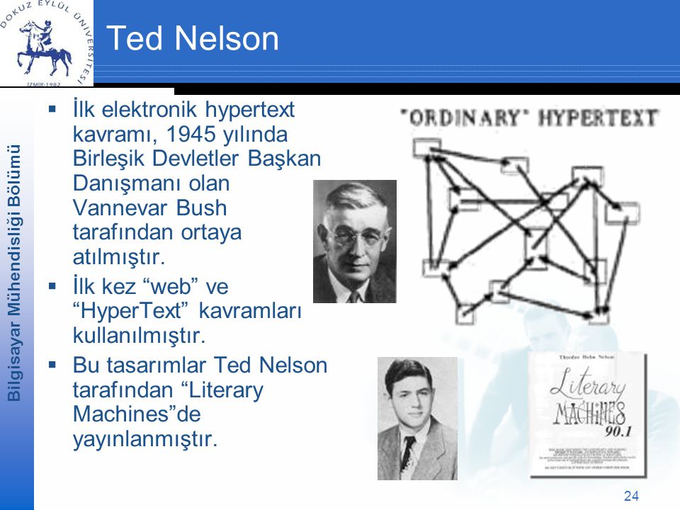 Ted Nelson İlk elektronik hypertext kavramı, 1945 yılında Birleşik Devletler Başkan Danışmanı olan Vannevar Bush tarafından ortaya atılmıştır.